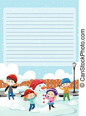 Paper template with kids playing in the snow