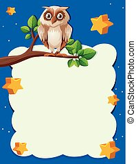 Paper template with owl at night