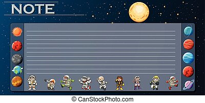 Paper template with planets in universe