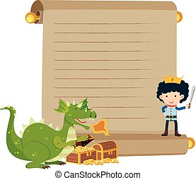Paper template with prince and dragon