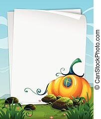 Paper template with pumpkin in the field
