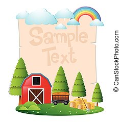 Paper template with red barn and hay