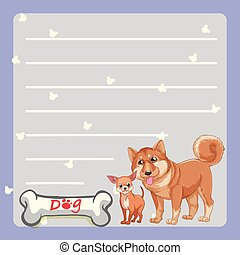 Paper template with two dogs and bone
