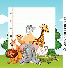 Paper template with wild animals in the field