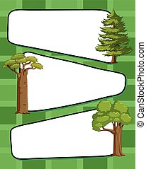 Paper template wtih green trees