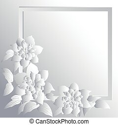 Paper terry clematis are on paper background. Vector...
