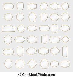 Paper texture collection blank frames and label set. Vector illustration.