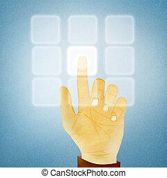 Paper texture ,Hand gesture pushing button on touch screen