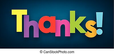 Paper thanks sign. - Colorful thanks sign over dark blue...