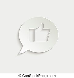paper thumbs up - vector icon