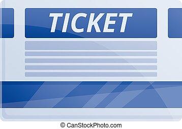 Paper ticket icon, cartoon style