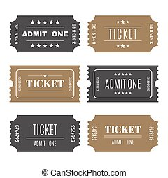 Paper tickets with numbers. Set of vector templates entry tickets. Vector illustration