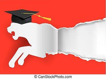 Paper tiger silhouette graduate