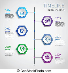 Abstract paper timeline infographics design template with hexagon buttons and business icons vector illustration