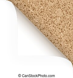 Paper - top corner - cork structure - paper turned over top...