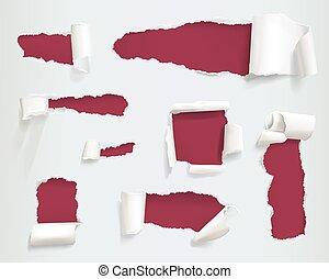Paper torn holes vector illustration