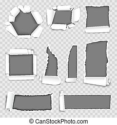 Paper torn holes vector isolated set on transparent background