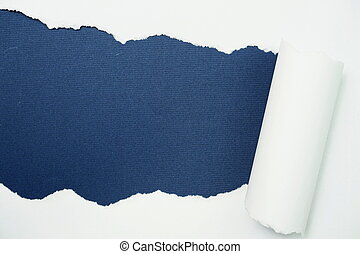 Paper torn with space copy on blue background
