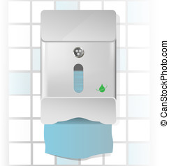 Paper towel dispenser illustration - Vector illustration of...