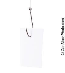 Paper trapped in fishhook isolated over white background