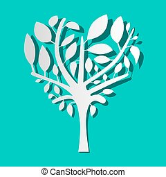 Paper Tree on Blue Background Vector