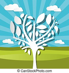 Paper Tree on Field Nature Background Vector