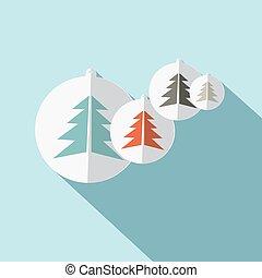 Paper Trees Flat Design Vector Illustration