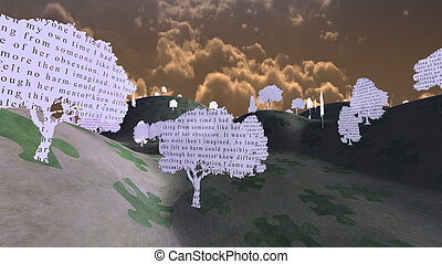 Paper trees with text in mystical landscape  from My own writing