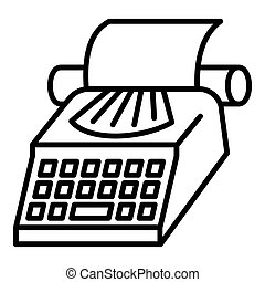Paper typewriter icon, outline style