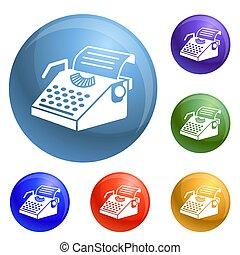 Paper typewriter icons set