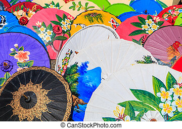 Paper umbrella handmade umbrella Chiang Mai Thailand