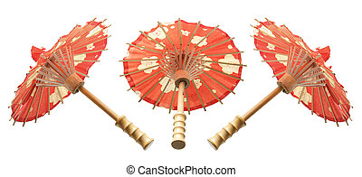 Paper Umbrellas on Isolated White Background