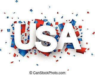 Paper USA confetti sign.