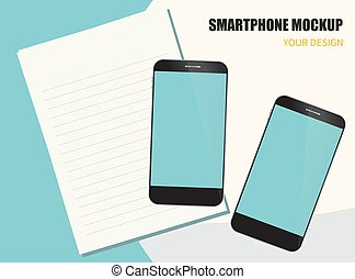 paper., vecteur, appareil, smartphone, numérique, 10, mockup, illustration, eps, note
