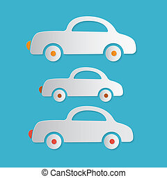 Paper Vector Cars Illustration on Blue Background