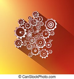 Paper Vector Cogs. Gears on Red and Gold Background.