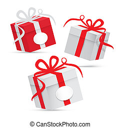Paper Vector Gift Box Set - Silver and Red Isolated on White Background