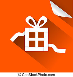 Paper Vector Gift - Present Box Blue Illustration with Bent Corner
