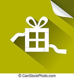 Paper Vector Gift - Present Box Green lllustration with Bent Corner