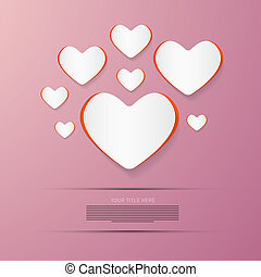 Paper Vector Hearts on Pink Background