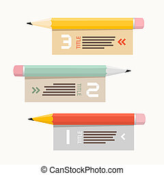Paper Vector Infographics Layout with Pencils