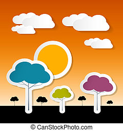 Paper Vector Nature Background with Trees, Clouds and Sun