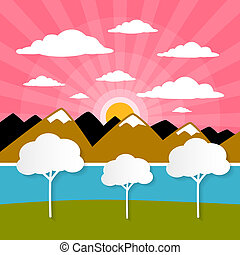 Paper Vector Nature Background with Trees, River - Lake, Clouds and Sun