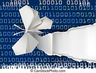 Origami butterfly rippping paper with binary code. Concept of e-books. Vector illustration.