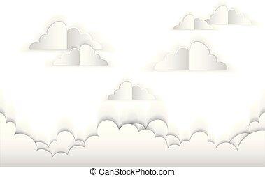 paper., vettore, nubi, illustrazione