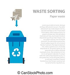Paper waste sorting flat concept.