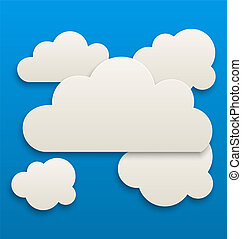 Paper white clouds, sky background - Illustration paper...
