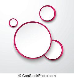 Paper white-fuchsia round speech bubbles. - Vector...
