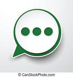 Paper white-green round speech bubble.