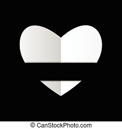 Paper white heart on black backgrou